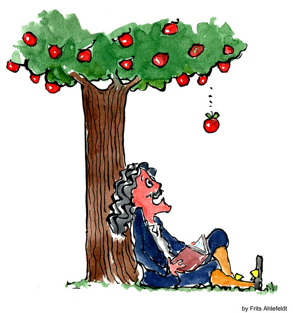 Newton under the apple tree waiting for the apple to fall...