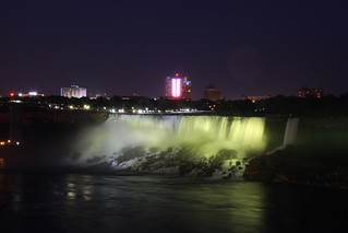 American Falls - lit from Canada!
