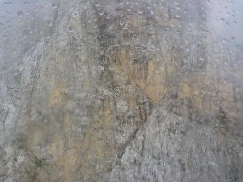 Lagazuoi cable car - Rock face in the rain