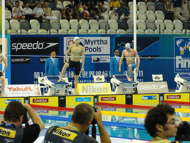 Sun Yang and Pál Joensen before the Shanghai 2011 men's 800 freestyle