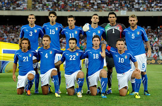 Italy team ahead of game against Spain
