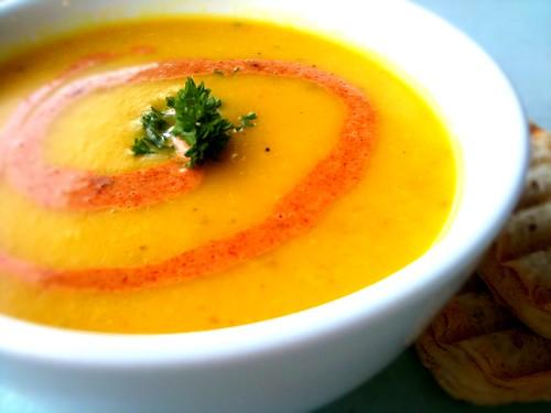 butternut squash soup with a hint of saffron