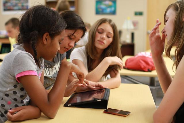 children using iPad for NASA app