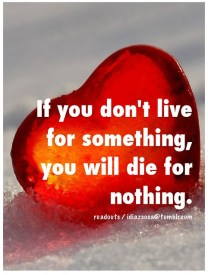 If you don't live for something, you will die for nothing.