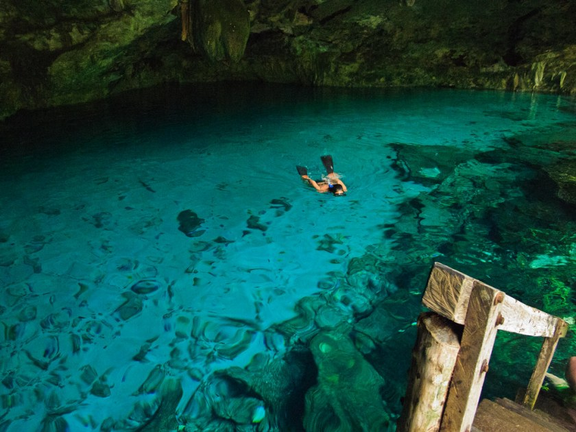 Snorkelling in a cenote, Yucatan
