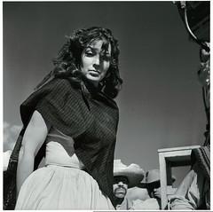 María Félix, during the filming of 'La Escondida,' 1956, by Juan Rulfo