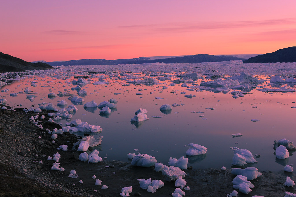 It never gets dark in the arctic summer. A pink glow scatters the horizon all night long...