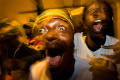 Supporters of Ghana react as they watch a broadcast of the World Cup between Ghana and Serbia, 2010, Johannesburg, Yasuyoshi Chiba