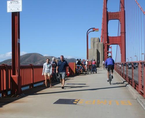 Pedestrians on the bike path