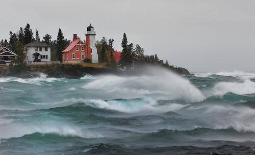 """September Gale"" Eagle Harbor Lighthouse - Eagle Harbor , Michigan"