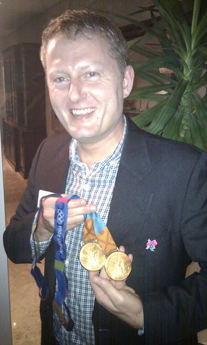 Me with Athens 2004 gold medals of Dame Kelly Holmes