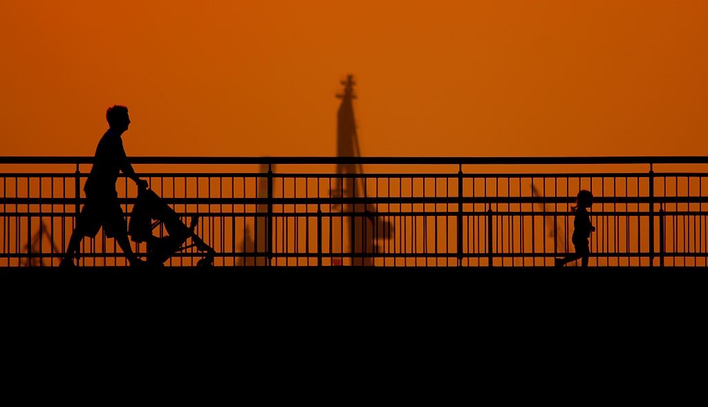 sunset, silhouette, Sandtorhafen, Hamburg, Germany