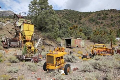 Mining equipment in Sourdough Canyon