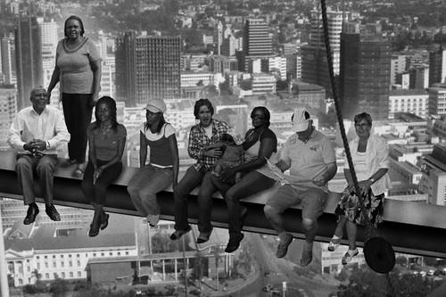 Family portrait atop a skyscraper