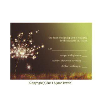 Twilight Dandelion Wedding RSVP Cards (3.5