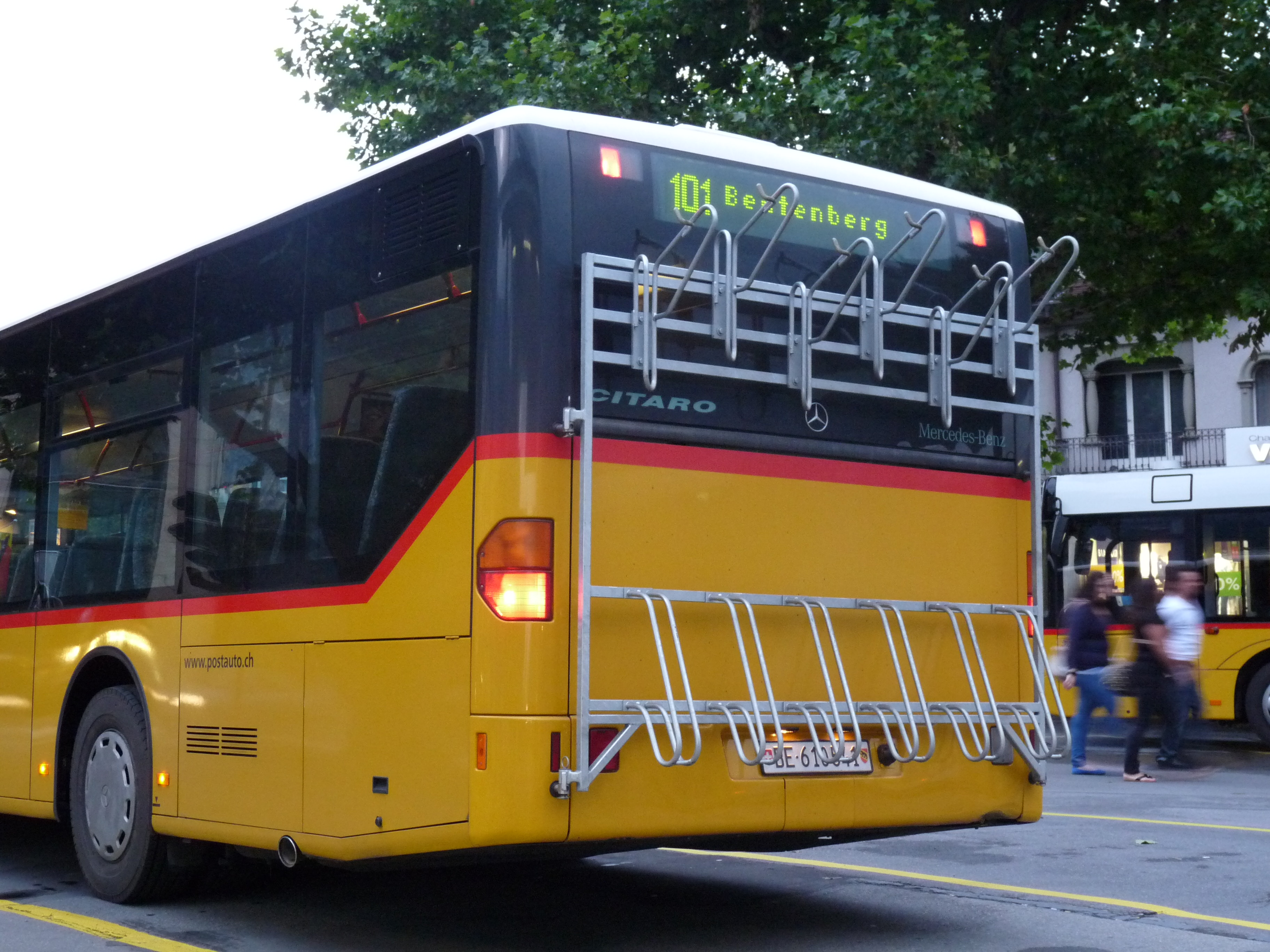 Swiss Postbus with bicycle rack