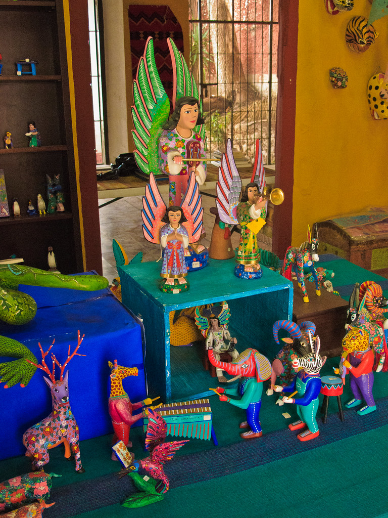 Alebrijes on display in a Merida shop