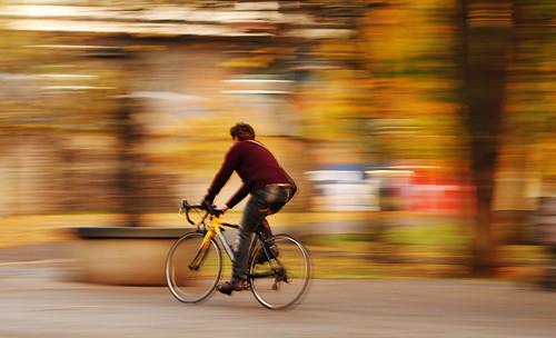 Cyclist in autumn