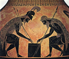 Exekias's Attic black-figure amphora painting of Achilles and Ajax playing a game during the Trojan War, Detail of neck-amphora, 540-530 BC, unattributed