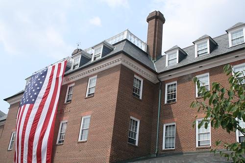 Flag draped city hall