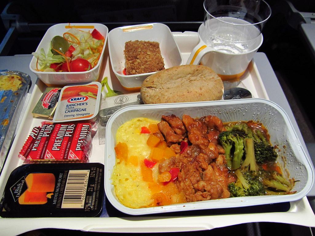 Lufthansa Hot Dinner Chicken Meal Lufthansa Airbus 340