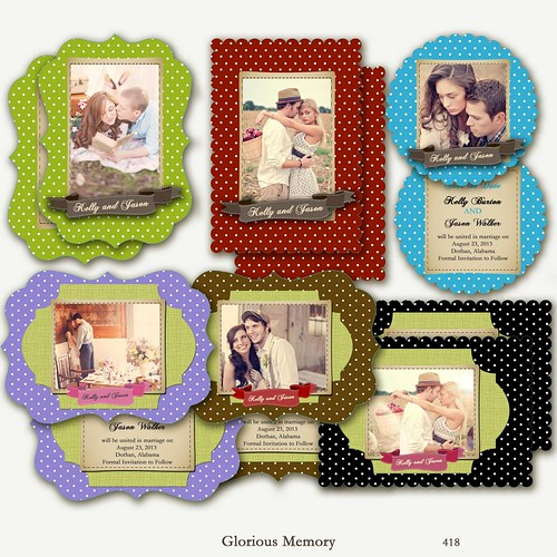 418-SET OF 6 - Save The Date Engagement Announcement Wedding Invitation Photo LUXE Card TEMPLATES - Vintage Memory In Polka Dots