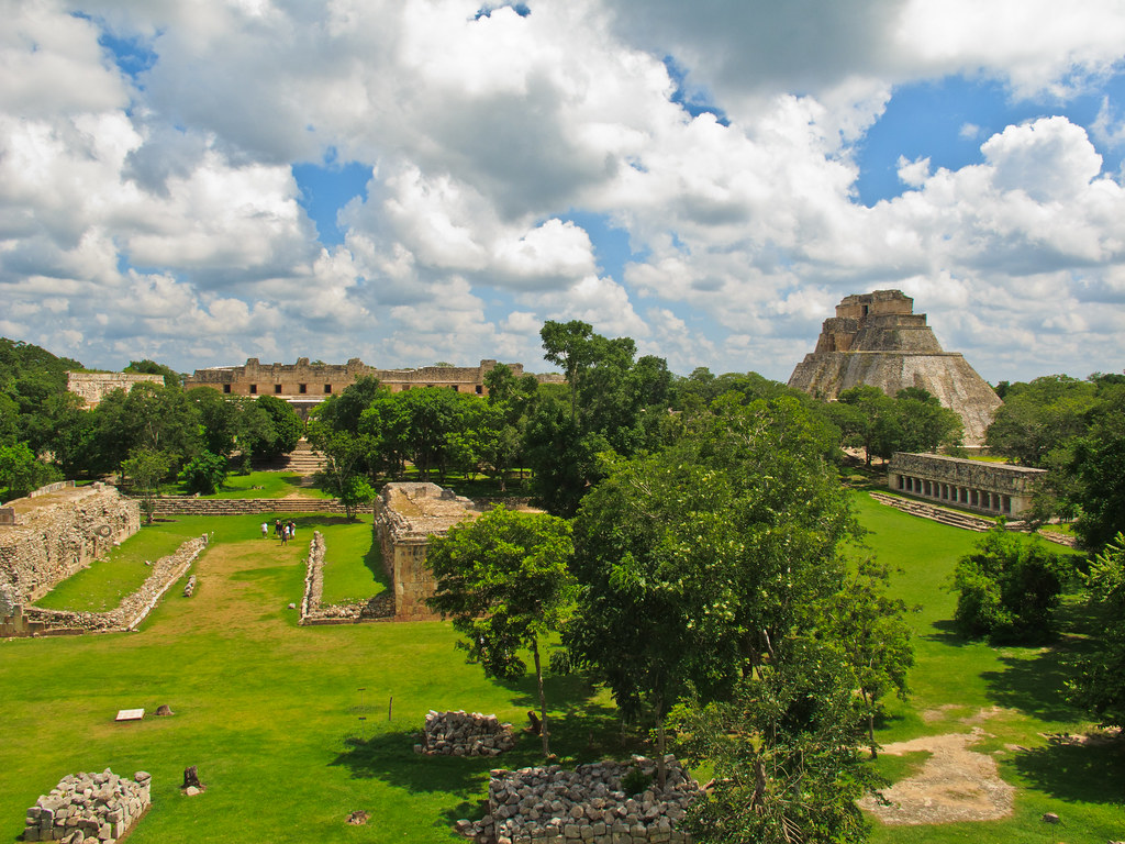 The ball court and Pyramid of the Magician, Uxmal