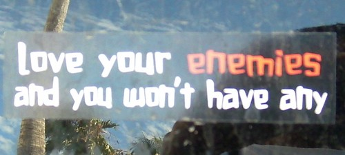 Love ememies bumper sticker