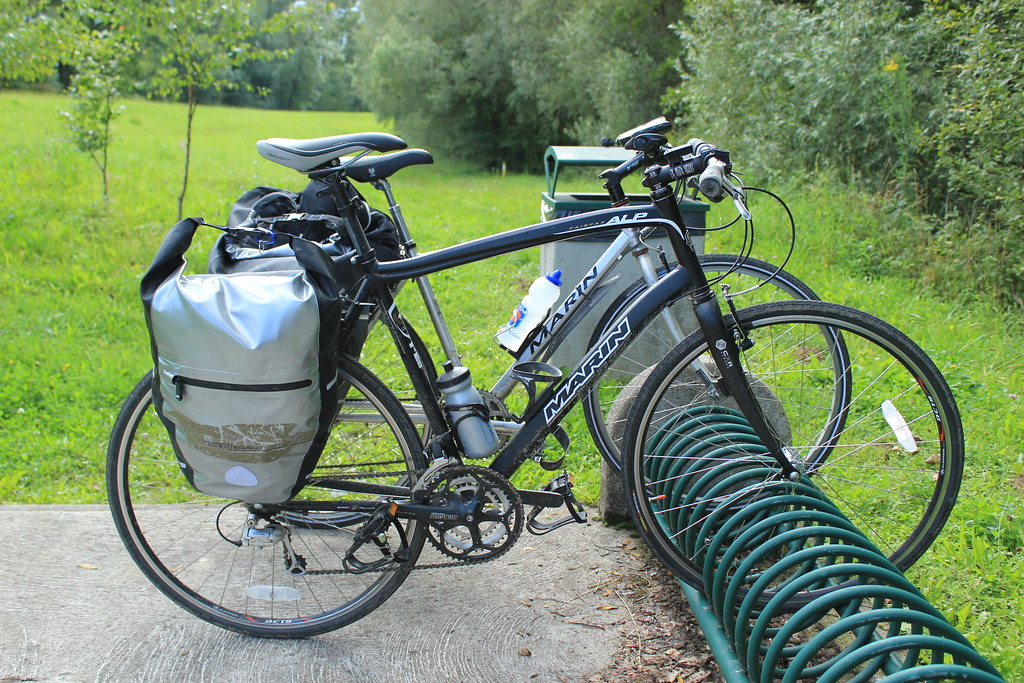 Bike sats on the rack just inside the French border along the Rhine