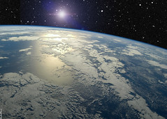 Earth Horizon with UFO or Star