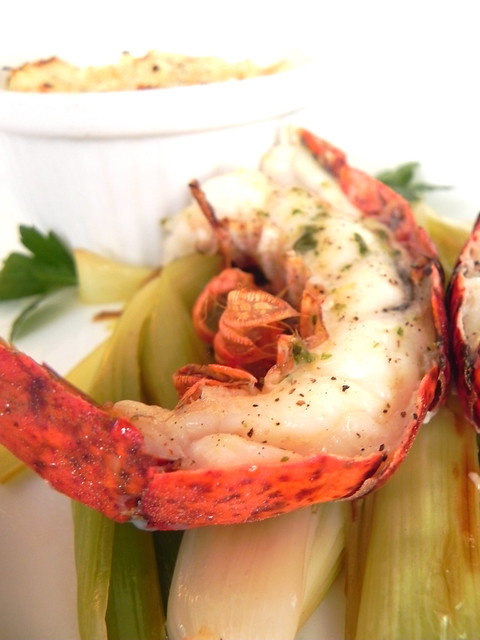 Fancy Cookin' - Broiled lobster, lemon braised leeks, and mashed potato gratin