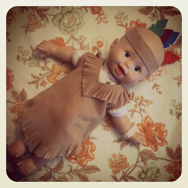 Made: one little Indian costume for one little baby for show and tell today. Creamie is stoked!