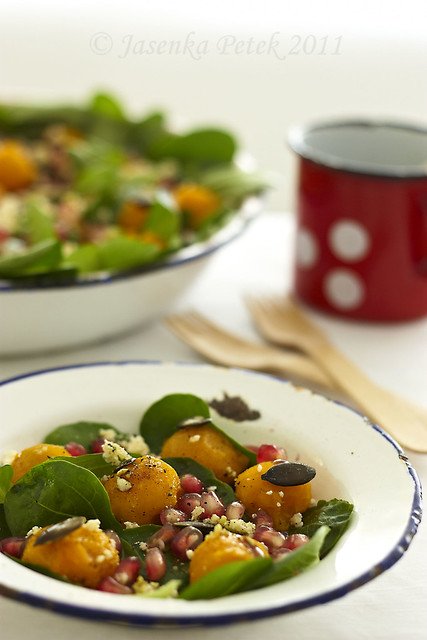 Pumpkin and pomegranate salad