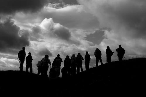 20110918-25 (B+W)_Midland Hill Walkers_Silhouettes Dolebury Warren - Mendip Hills by gary.hadden