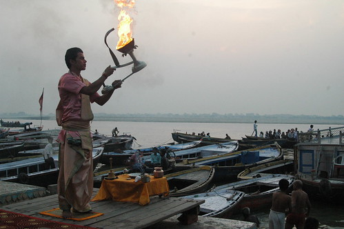 The early morning Aarti for Mother Ganges, the river considered to be very pious