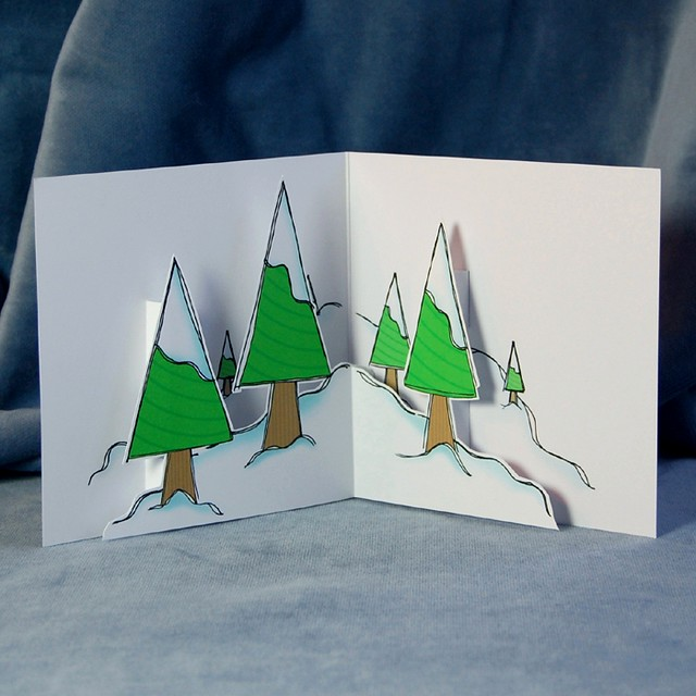 frosty trees - pop up card (inside)