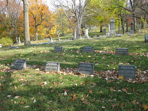 John Howard (back row, center) and family, Woodland Cemetery, Section 66