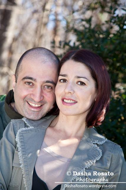Happy Couple Husband Hugging His Wife