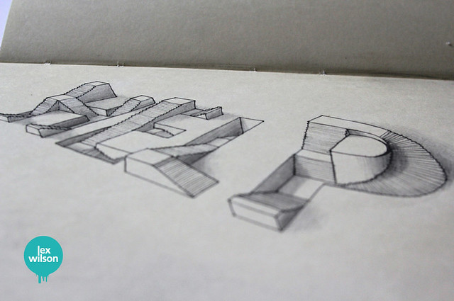 Moleskine illustration #23: Help. (typography)