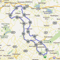 wc-03. Bike Route Map. Washington Crossing State Park.