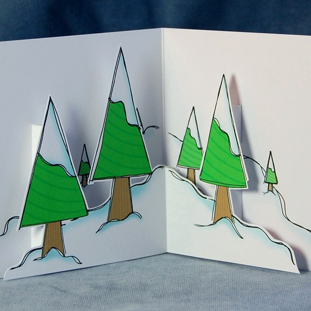frosty trees - pop up card (detail)