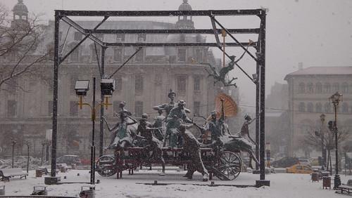 Snowy Statue Bucharest