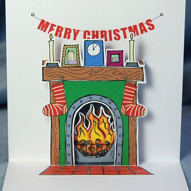 flaming good christmas - pop up card (detail)