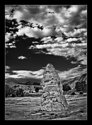 Liberty Cap, Mammoth Hot Springs, Yellowstone National Park. Monochrome Version. by Somnath Mukherjee Photoghaphy