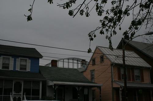 Modern bridge, historic homes