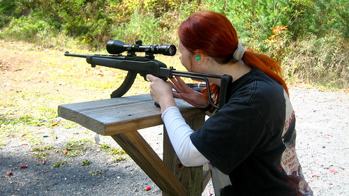 20111016 - 1 - shooting range - 1049 - Carolyn - shooting Ruger rifle - IMG_3822