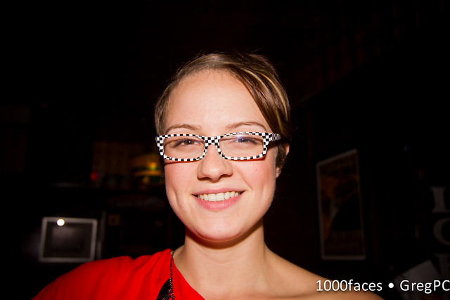 Face - smiling Sam with checkerboard glasses on her birthday