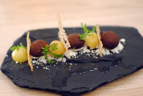 foie gras bon bons, quince, tonka bean, Szechuan peppercorn