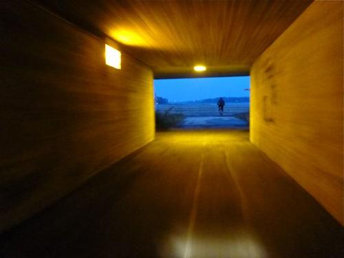 Into the twilight - biker's underpass in Helsinki