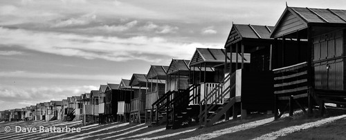 Chalets, Shadows and Clouds - B&W (16x7 crop)